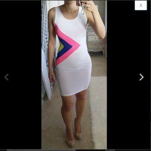 Multicolor Rainbow Asymmetric Triangle 80s Dress M